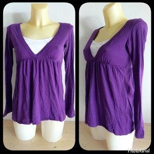 Z. RO Purple and White Long Sleeve Babydoll Shirt